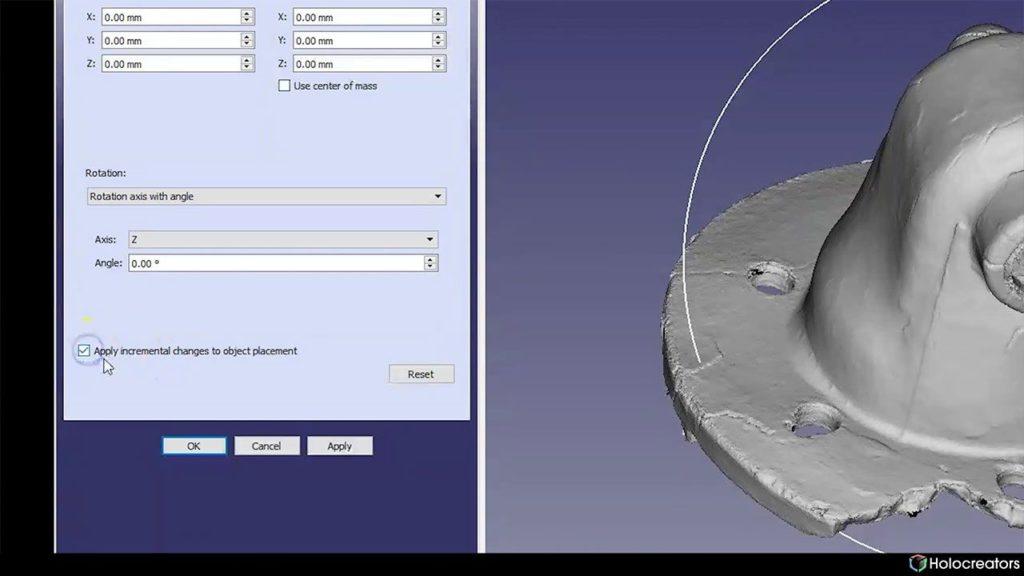 Dieses Foto zeigt die Checkbox zum Anwenden inkrementeller Änderungen an der Objektplatzierung in FreeCAD.