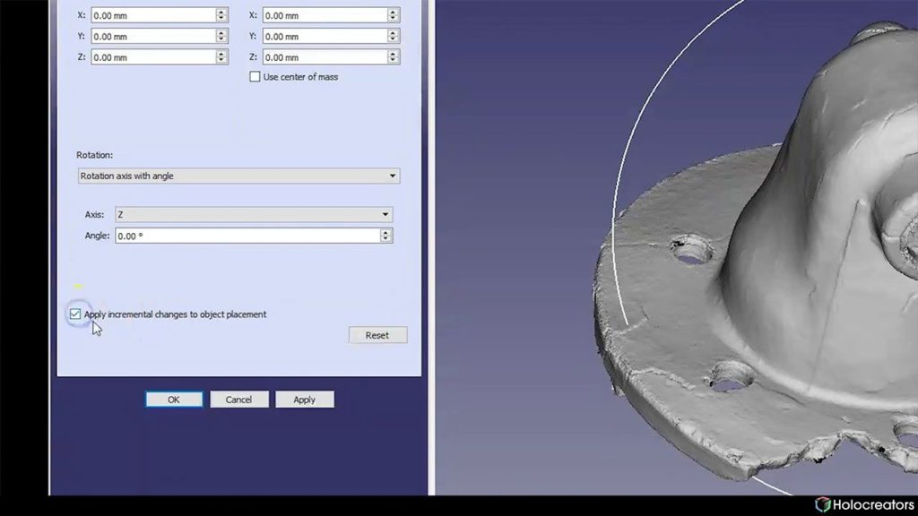 Checkbox to apply incremental changes to object placement in Freecad