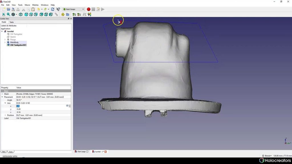 Blue selection line in Freecad