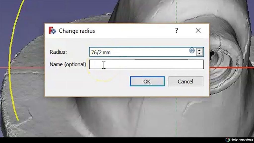 Window for radius change in Freecad
