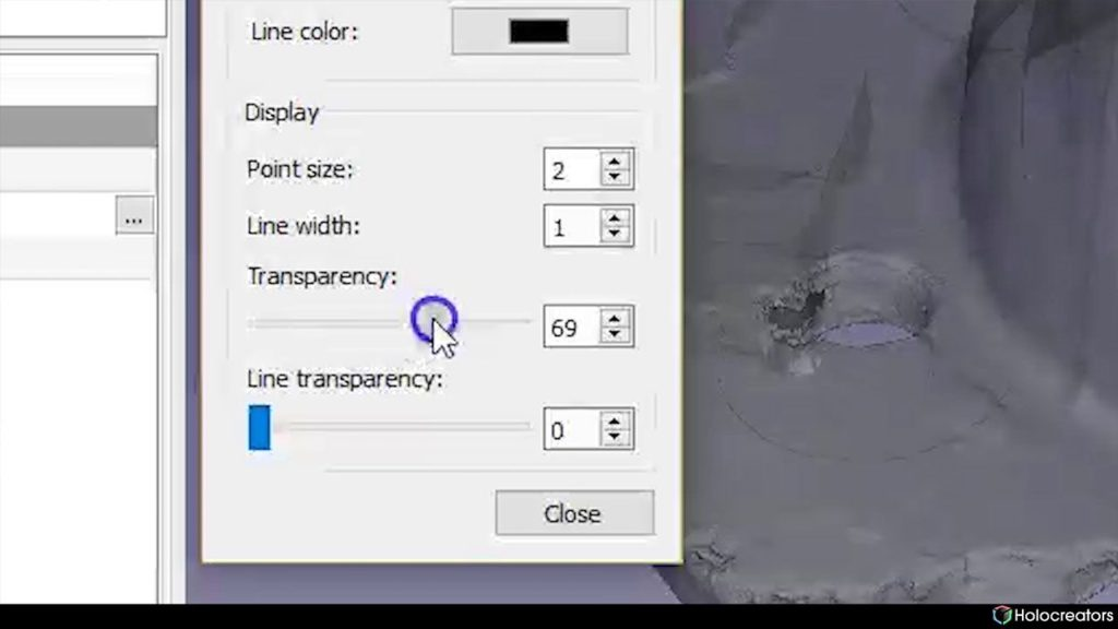 Transparency slider in Freecad