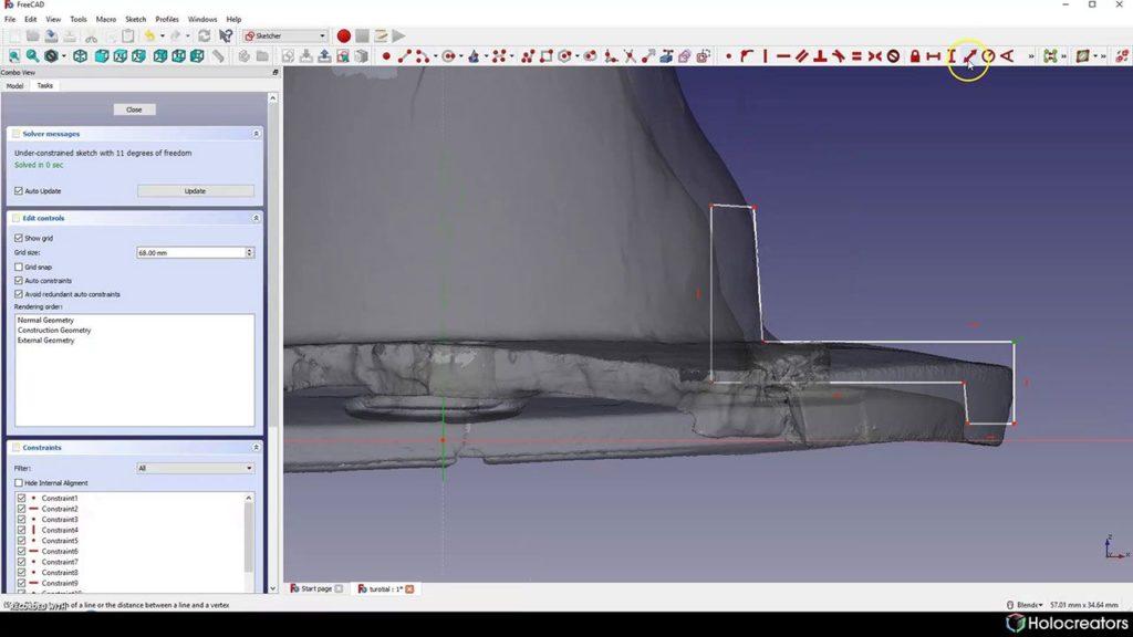 Mit der auf dem Bild gezeigten Schaltfläche die Länge einer Linie, der Abstand einer Linie oder eines Vertex in FreeCAD festgelegt werden.