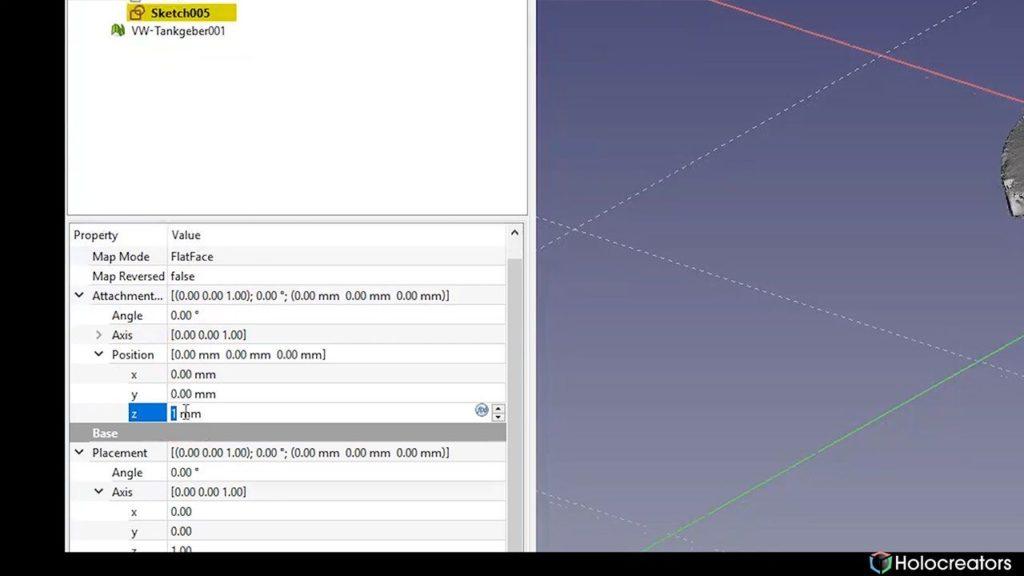 In dieser Darstellung wird gezeigt, wie die Z-Position der Ebene in FreeCAD geändert werden kann.