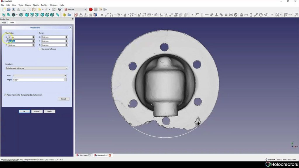 Moving the 3D scan until its in the center of the reference circle