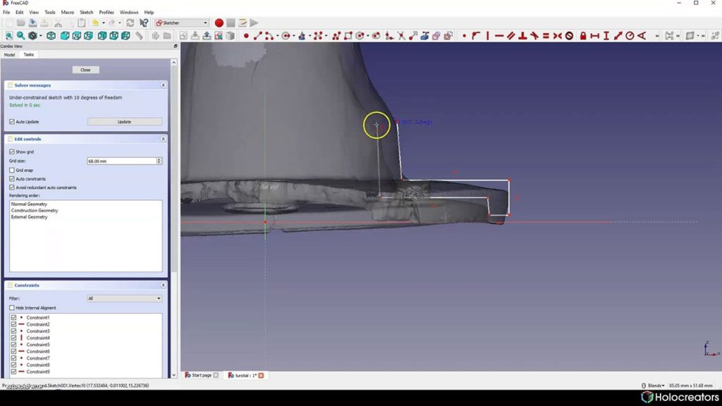 Auf dem Bild wird gezeigt, wie das Skizzieren auf dem Querschnitt eines 3D-Scans in FreeCAD möglich ist.