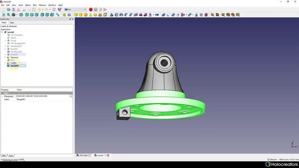 Mit der auf dem Bild gezeigten Schaltfläche kann ein separater Körper in FreeCAD ausgewählt werden.