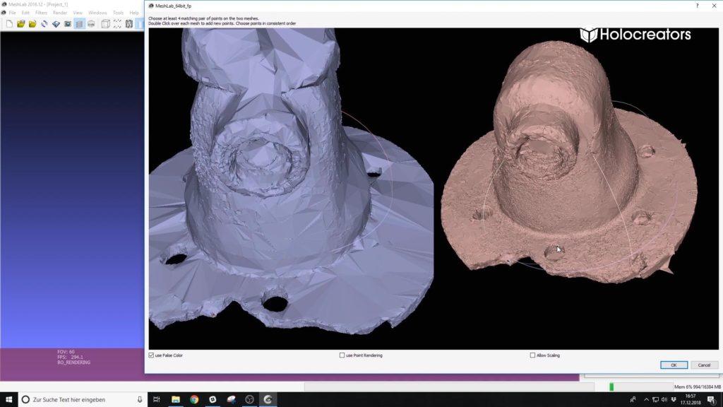 Zwei verschiedenen 3D-Scans werden im Meshlab durch Vergleichen und Markieren übereinstimmender Punkte ausgerichtet.