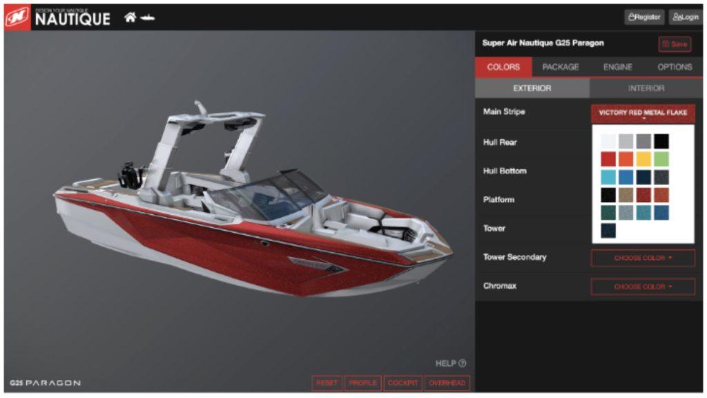 Der 3D-Produktkonfigurator zeigt das 3D-Modell eines Bootes von Nautique