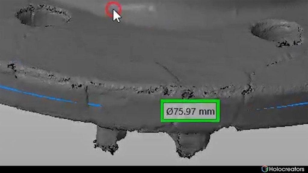 Mit der auf dem Bild gezeigten Schaltfläche kann der Durchmesser des 3D-Scans in Netfabb gemessen werden.