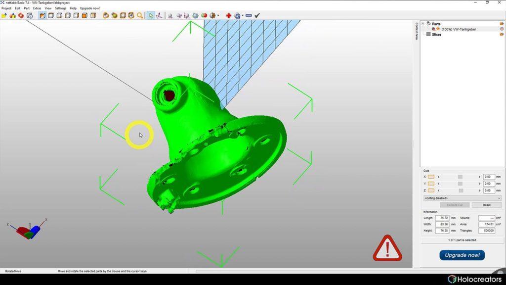 Der 3D-Scan wurde in Netfabb importiert.