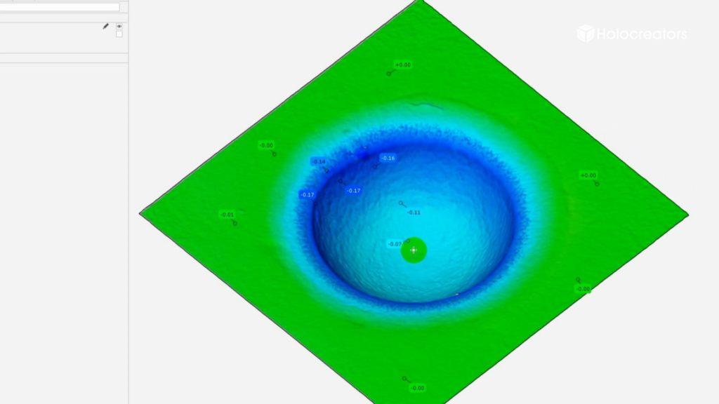 Der 3D-Scan zeigt den Schlagbolzenabdruck auf dem Zündhütchen einer Patronenhülse.