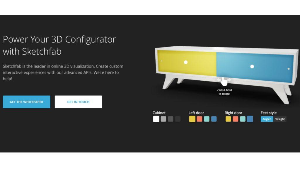 Der 3D-Produktkonfigurator von Sketchfab zeigt das 3D-Modell eines Sideboards.