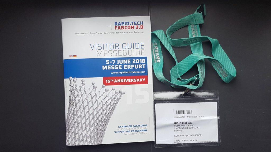 So sahen der Besucherleitfaden und der Ausweis für die Rapid.Tech FabCon 3.D 2018 aus.