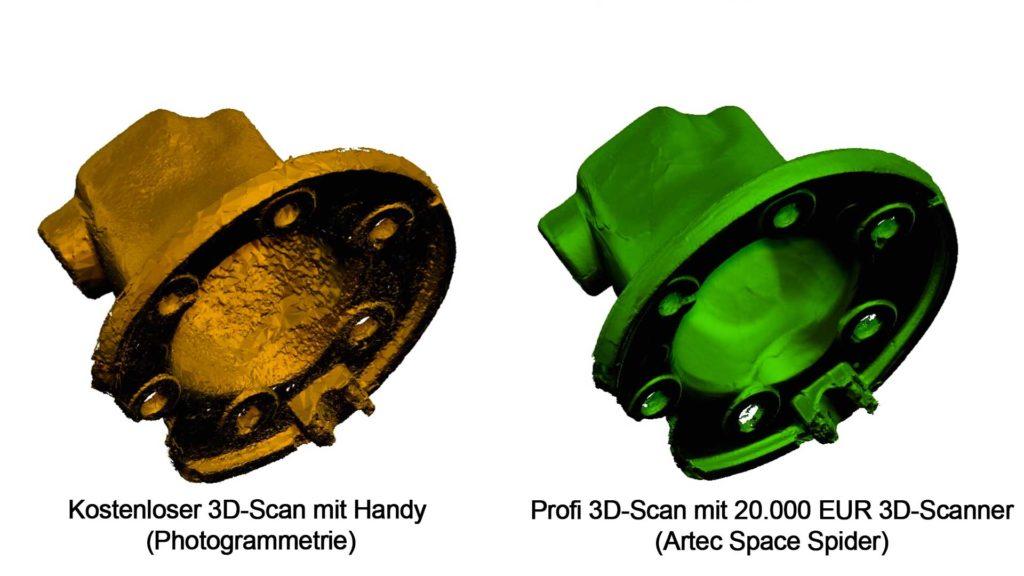 So unterscheiden sich ein photogrammetrischer 3D-Scan und ein professioneller 3D-Scan mit Streifenlicht im Vergleich.