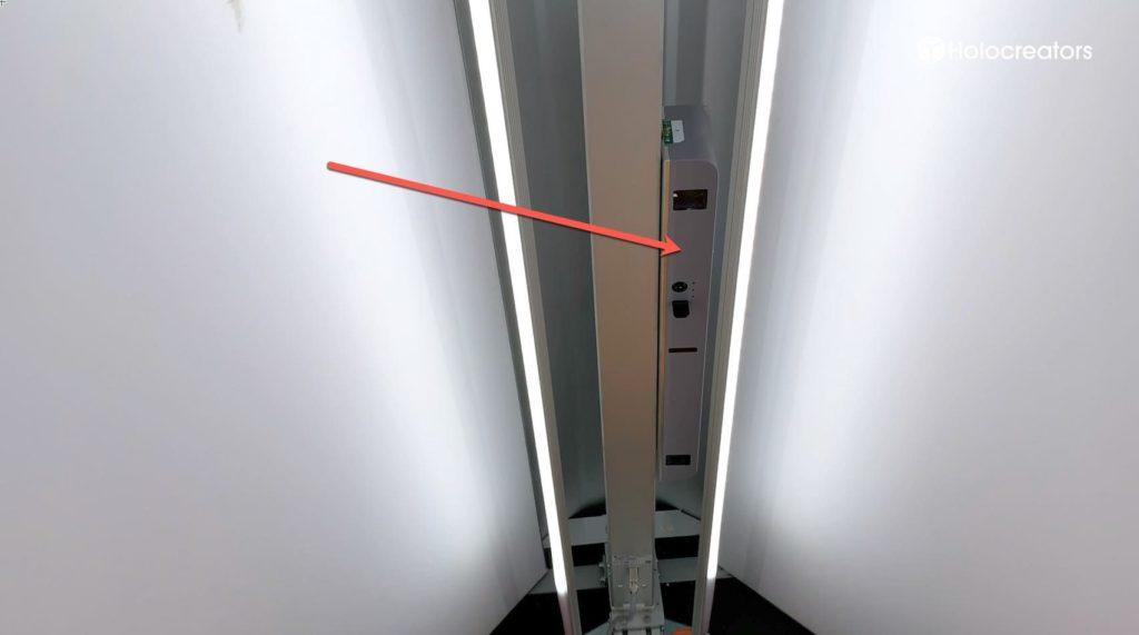 Der Sensorschlitten mit Kameras befindet sich im Inneren des Vitronic-Vitus-Körper-3D-Scanners.