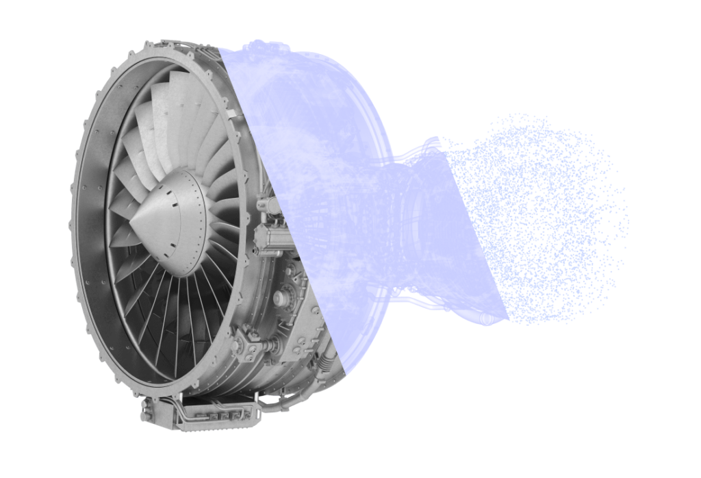 A 3d scan of a jet engine fading from solid model to point cloud.